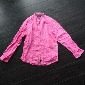 Vintage Ralph LAUREN Linen Button Down Shirt Sz PM